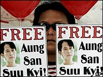 A supporter of Burmese pro-democracy leader Aung San Suu Kyi, Friday, June 17, 2005