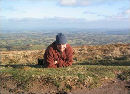 Neil Foley from Caerphilly having a rest on Offa's Dyke