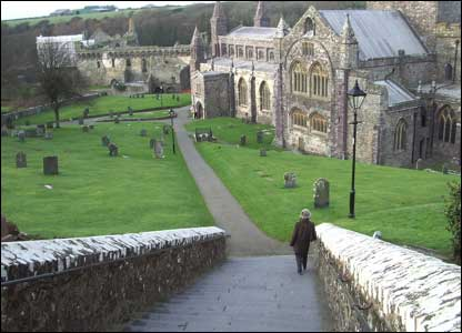Alwenna Fairburn arriving early for church at St Davids Cathedral, sent in by Ian Fairburn