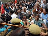 Airport employees demonstrating in Delhi