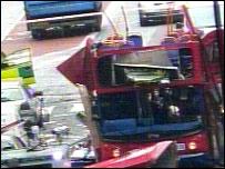Detail of damaged bus