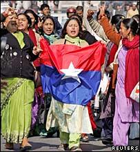 Women activists in a pro-democracy rally in Kathmandu