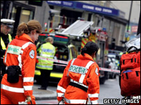 Paramedics attending the scene at one of the affected tube stations