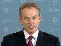 Prime Minister Tony Blair pictured giving his statement
