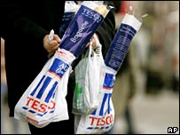 Tesco bags with shopping
