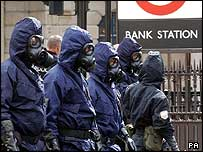 UK police during a rehearsal for an attack in September 2003