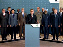 Tony Blair makes a statement, flanked by other G8 leaders