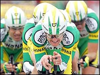 Floyd Landis and his Phonak team during the team time trial of stage four