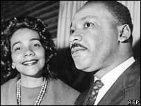 Coretta Scott King with her husband in Oslo in 1964
