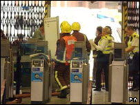 Emergency workers at London's Aldgate station