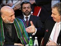 Hamid Karzai and Tony Blair