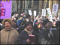 Demonstrators outside Parliament on Tuesday