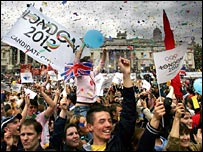 Celebrations in London's Trafalgar Square