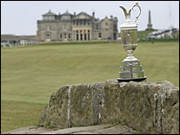 The Claret Jug and the R&A clubhouse at St Andrews