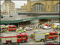 Fire engines at King's Cross Station