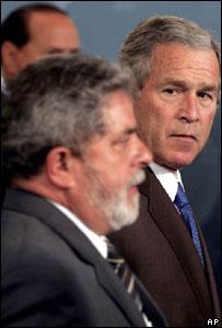 Presidente de Brasil, Luiz Inacio Lula da Silva y Presidente de Estados Unidos, George Bush.