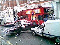 The destroyed bus in Woburn Place
