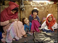 Mother and her children in Dashti-Arzana refugee camp, Afghanistan