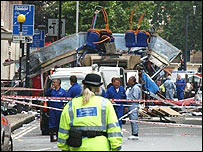 Aftermath of bus explosion