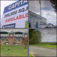 Top left clockwise, sign marketing the retail site; Ninian Park will make way for housing; Leckwith Road will be widened; A new Cardiff athletics stadium will be built