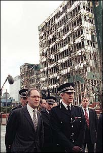 Then Metropolitan Police chief Sir Paul Condon and Home Secretary Michael Howard visit the site of the 1996 Docklands bomb