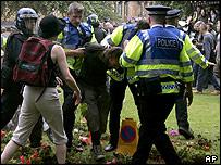 Police and protesters in Edinburgh