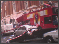 BBC News website reader Stephen Thornhill took this photo of the bomb-damaged bus in Tavistock Square