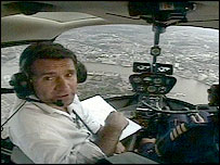 David Shukman in the cockpit of a helicopter