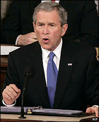 US President George W Bush gives his State of the Union address
