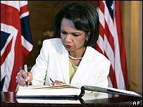 US Secretary of State Condoleezza Rice signing the book of condolences