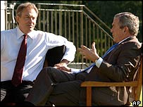 UK Prime Minister Tony Blair and US President George W Bush at Gleneagles