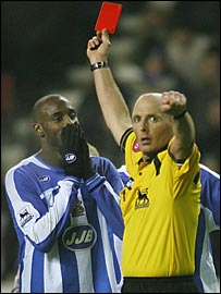 Jason Roberts is given his marching orders against Everton