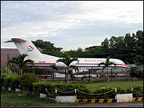Decommissioned President Airlines jet at Phnom Penh airport