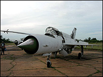 Abandoned MiG fighter plane at Phnom Penh airport