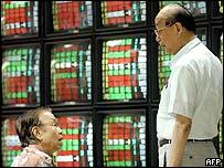 Investors chat in Taipei