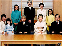 In this photo released by the Imperial Household Agency, Japan's Emperor Akihito, seated third left, and Empress Michiko, seated second right, pose with members of their royal family, Dec. 16, 2005.