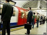 Commuters on London's Underground
