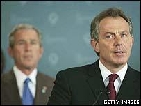 British PM Tony Blair speaking at the G8 summit