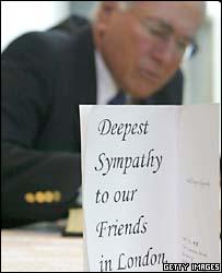 Australian Prime Minister John Howard reacts to the bombs in London