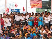 Striking airport workers at Mumbai airport