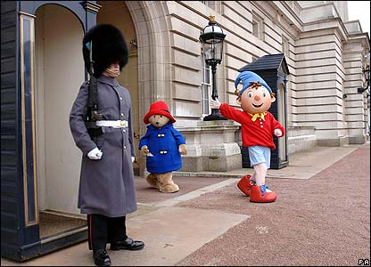 Noddy and Paddington being very naughty and teasing one of the guards on my garden shed.