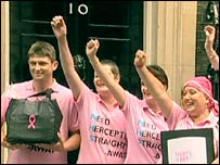 Herceptin campaigners outside Downing Street