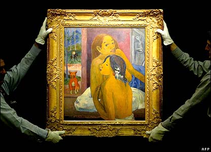 Staff at Sotheby's with Deus Femmes by Paul Gaugin