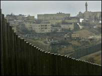 A section of Israel's separation barrier in the village of Abu Dis, in the outskirts of Jerusalem