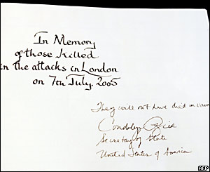 Condoleezza Rice's message in the book of condolence for victims of the London bombings