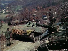 Bosnian Serb troops and tank in Ilijas