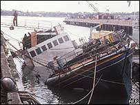 Rainbow Warrior in Auckland harbour after the bombing - 1985