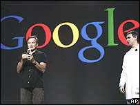 Film star Robin Williams and Google founder Larry Page