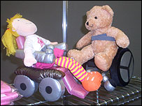 Photo of wheelchair using characters, Jonathan and Tilly