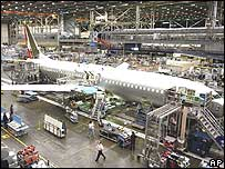 A plane being put together in a Boeing factory